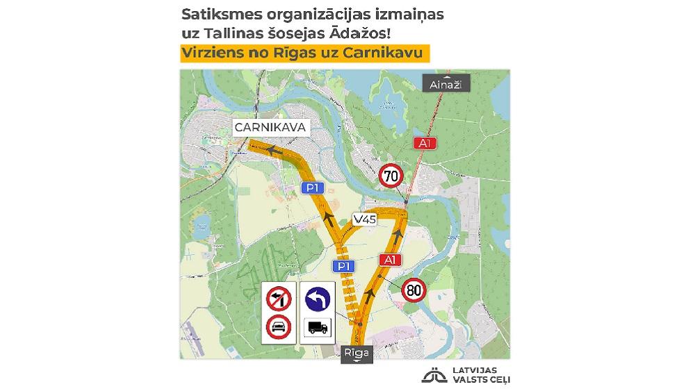 Ādažnieki neapmierināti ar satiksmes reorganizāciju uz Tallinas šosejas